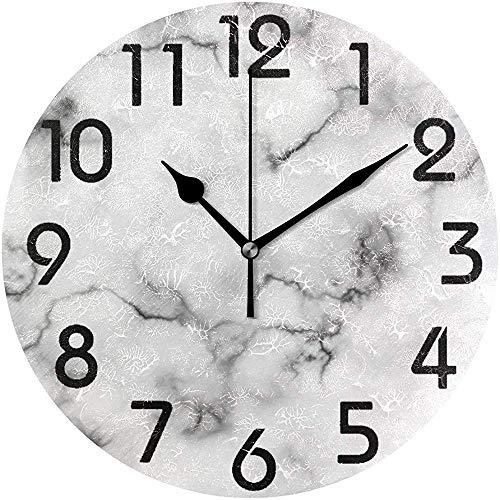 Cy-ril Horloge Murale Ronde réaliste en Pierre de marbre Blanc réaliste fonctionnant sur Batterie pour la Maison, Le Bureau, l'école