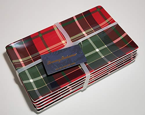 """Tommy Bahama Tartan Plaid Appetizer Plates Set of Six Tartan Plaid Red, Green - 100% Melamine, Dishwasher Safe 5"""" x 8"""" Oblong Plates Christmas Dinnerware great for Parties, Entertainment"""