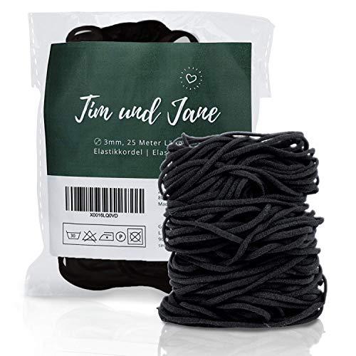 Tim und Jane Gummiband rund 3mm, 25m Länge, Elastikkordel zum Nähen, Gummiband für Mundschutz (schwarz)