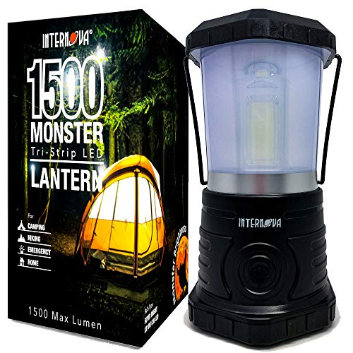 Internova Monster LED Camping Lantern - Battery Powered - Massive Brightness - Perfect for Hurricane - Camp - Emergency Kit (Black 1500 Lumen)