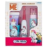 MR WHITE - FLUFFY - Set Regalo - igiene dentale composto da: Spazzolino a batteria, dentifricio 75ml gusto tuttifrutti, bicchierino e set matite colorate