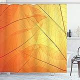 ABAKUHAUS Naranja Cortina de Baño, Naturaleza Otoño Hojas Secas, Material Resistente al Agua Durable Estampa Digital, 175 x 180 cm, Naranja Amarillo
