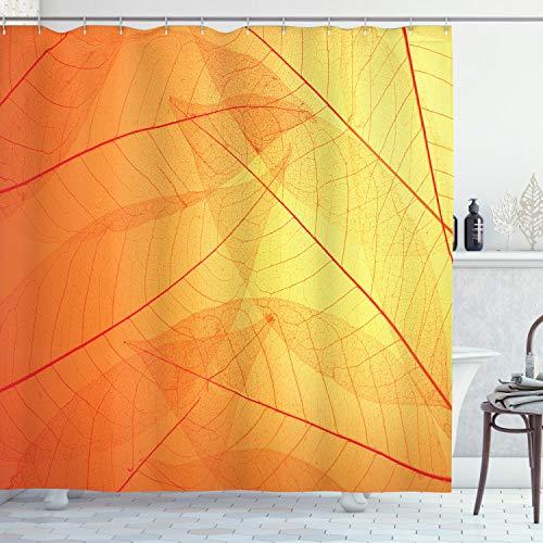 ABAKUHAUS Orange Duschvorhang, Herbst Natur Trockene Blätter, aus Stoff inkl.12 Haken Digitaldruck Farbfest Langhaltig Bakterie Resistent, 175 x 200 cm, Orange Gelbe