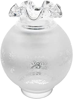 Vianne Satin-Etched Gas Light Shade with Ruffled Top and 4