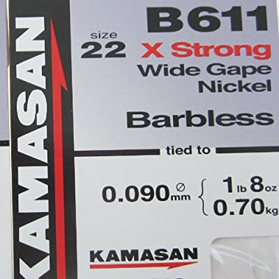 FTD - 30 (3 packs of 10) KAMASAN B611 X-STRONG Wide Gape (BARBED & BARBLESS) Fishing Hooks to Nylon - available in SINGLE SIZE - 14, 16, 18, 20 & 22 from KAMASAN