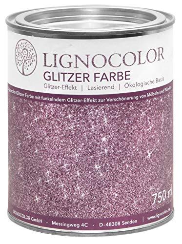 Lignocolor Glitzer Farbe (750 ml, Pink) für Möbel und Wände in Glitter Optik, Effektfarbe Glitzereffekt, transparent lasierend – hergestellt in Deutschland