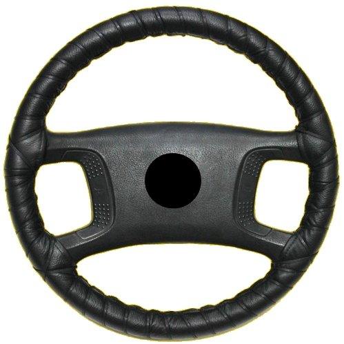 AERZETIX Lenkradhülle zum schnüren Größe M 37 – 40 cm, aus echtem Leder, Schwarz