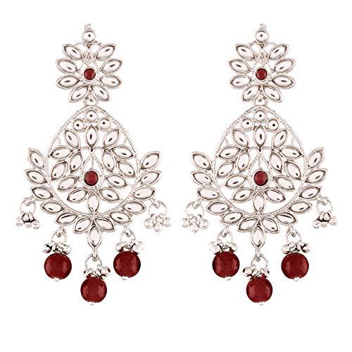 I Jewels Rhodium Plated Kundan Chandbali Earrings for Women (E2465ZM)
