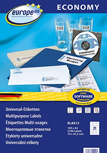 europe100 ELA013 Universaletiketten (70 x 42,3 mm, 100 Blatt/2100 Etiketten) weiß
