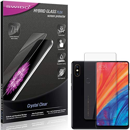 SWIDO Panzerglas Schutzfolie kompatibel mit Xiaomi Mi Mix 2S Bildschirmschutz-Folie & Glas = biegsames HYBRIDGLAS, splitterfrei, Anti-Fingerprint KLAR - HD-Clear