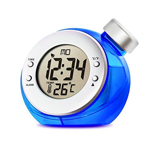 LIGHTOP LED Eco-Friendly Clock Wasserbetriebene Uhr Tischuhr (24-Stunden Mode) Datum und Temperatur Anzeigen Thermo Hygrometer und Wetter Anzeige für Kinder Schlafzimmer Wohnzimmer Büro (Blau)