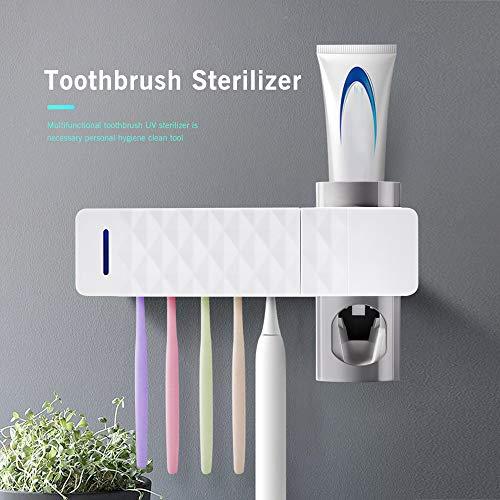 ONEVER Porta Spazzolino da Denti Sterilizzatore per Spazzolini Staffa di Stoccaggio Spazzolino Automatico a Parete Antibatterico UV per Bagno, Bambini (New- Toothbrush UV Sterilizer)