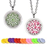 TeaMaX 2PCS Aromatherapy essential oil diffuser necklace, Two Patterns Pendant Locket Jewelry,beautiful life perfume