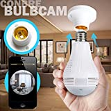 Conbre Eyeball V380 Pro Fisheye 360° Panoramic Wireless CCTV Camera and Smart LED Bulb with Bulb Holder - Supports 64Gb Sd Card