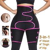 Gahin Waist Trainer for Women 3 in 1 High Waist Trainer Thigh Trimmer Fitness Weight Loss Butt Lifter Slimming Support Belt Hip Raise Shapewear Thigh Body Shaper for Women