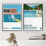SXXRZA Cuadro Impreso 2 Piezas 50x70 cm Sin Marco David Hockney Exposición de Arte Póster Impresión de Arte de Tinta salpicada Minimalista Moderno Impresión de David Hockney Decoración de Hockney