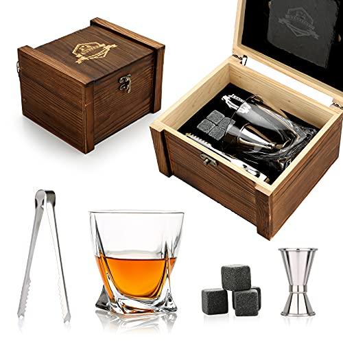 Whisky Stones-Juego de regalo cristal de whisky personalizado, regalos de whiskypara hombres,regalode piedrasde whisky,4piedras de whisky+vaso de whisky,posavasos de pizarra,regalos de cumpleaños