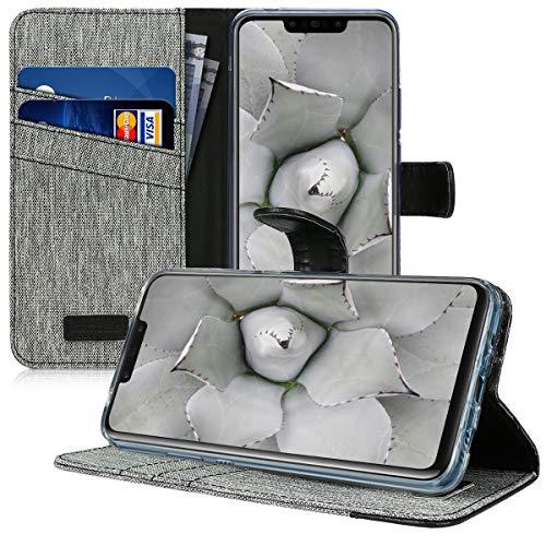 kwmobile Huawei Nova 3 Hülle - Kunstleder Wallet Case für Huawei Nova 3 mit Kartenfächern und Stand - Grau Schwarz - 4