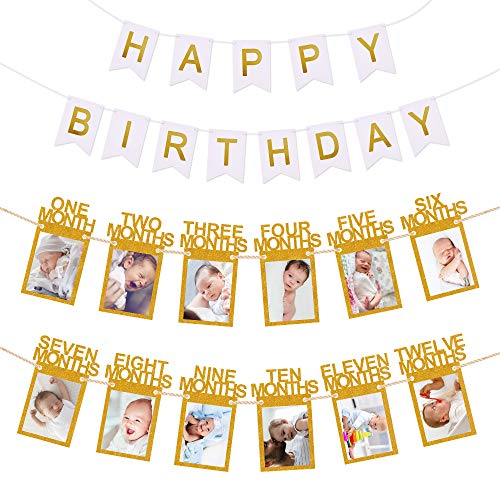 1St Birthday Photo Banner, Hurriman 12 Month First Birthday Bunting Garland Milestone Keepsake Monthly Photo Banner For Baby Party Decoration (Gold)