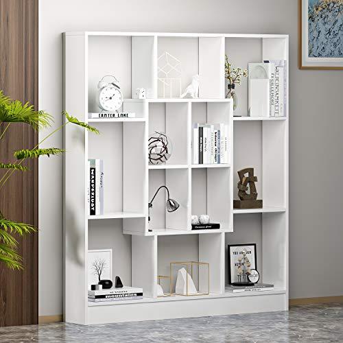 HOMIDEA Mars Libreria - Scaffale per Libri - Scaffale per Ufficio/Soggiorno dal Design Moderno (Bianco)