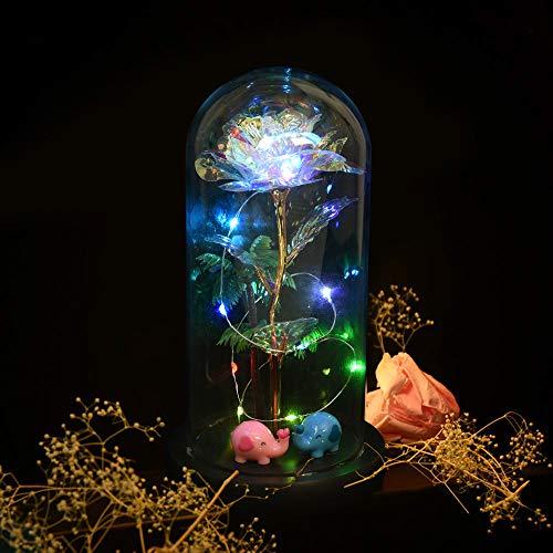 Aokebeey Bunte Galaxy Hoffnung Rose mit Led Licht im Glas, Romantische Golden Künstliche Rose Ewige Rose mit Staender Dekoration Geschenk Fuer Muttertag,Geburtstag,Hochzeit,Jubiläum,Ostern(Elefant)
