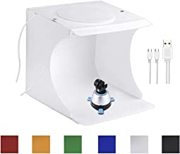 Portable Photo Studio Box for Jewellery and Small Items Portable Folding Photography Studio Box Booth Shooting Tent Kit(2x20 LED Lights 6 Colors Backdrops)