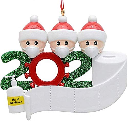Mupack 3D Weihnachtsschmuck Personalisierte Christmas Decorations, Weihnachtsmann mit Maske, Überlebende Familie Von 2, 3, 4, DIY Weihnachtsdekorationen,Baumschmuck Weihnachtsbaum HäNgen Ornament