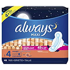 Includes: (1) 48-count package of Always Maxi Size 4 Overnight Pads with Flexi-Wings Wings, Unscented. Make sure you're getting the right fit. The wrong fit can lead to leaks. Step up in size to Size 4 Overnight Maxi Pads and be leak-free. UP TO 10 H...