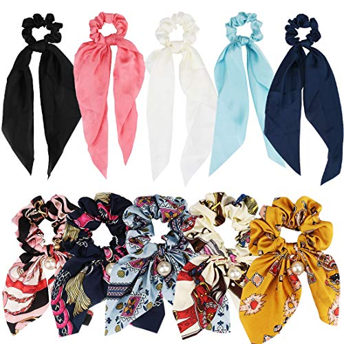 ANBALA Satin Ribbon Hair Scrunchies, 10Pcs Bow Scrunchies, Thin Cold Scrunchies, Hair Ties Accessories for Girls Women (5 Flowers Color Scrunchies + 5 Solid Color Scrunchies)