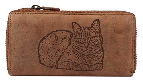 Greenburry Vintage Damen Geldbeutel Leder Portemonnaie 19x2,5x10cm Langbörse Damenbörse Motiv der Russisch Blau Katze