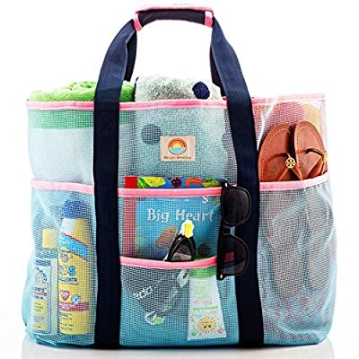Mesh Beach Bag ? Large Family Tote Perfect for Women and Men ? Extra Storage with 9 Oversized Pockets for Organization, Comfortable Shoulder Strap - Stylish Blue and Pink