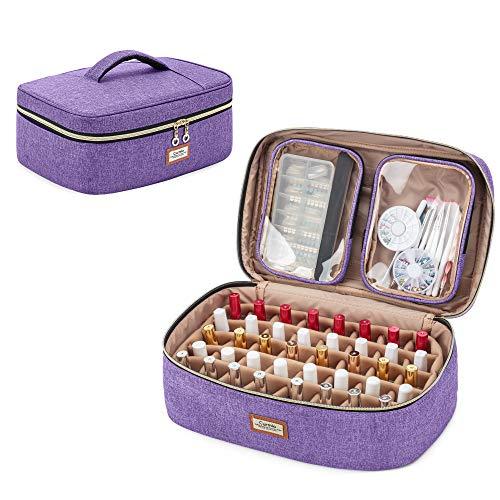 CURMIO Nagellack Aufbewahrung Tasche, Tasche für Nagellack, Nagellack Organizer Tasche für 40 Nagellackflaschen (5-30 ml), Kosmetiktasche für Nagellack und Nageldesign Zubehör, Lila
