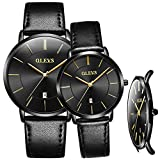 OLEVS Couple Watches Set Swiss Brand Watch Men Women Ultra Thin Quartz Analog Wrist Watches His and Hers Casual Watch Leather Wristwatch for Men Women Lovers Wedding Romantic Gifts Set of 2