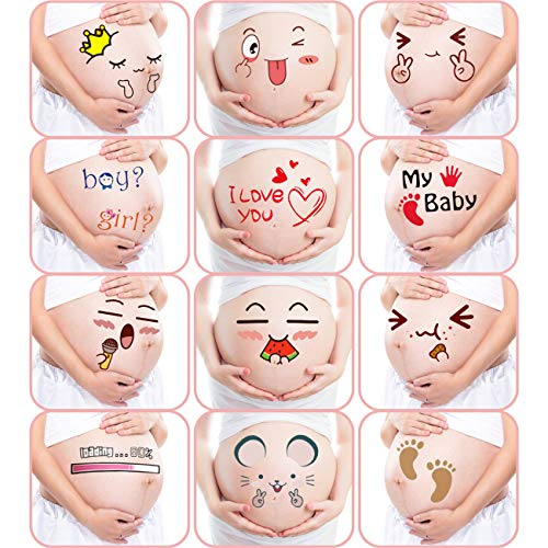 M&G House Pregnancy Belly Stickers Maternity Funny Cute Facial Expressions Pregnancy Baby Bump Belly Sticker Photography Props (Pregnant Belly Stickers-12 Stickers with Different Expressions)