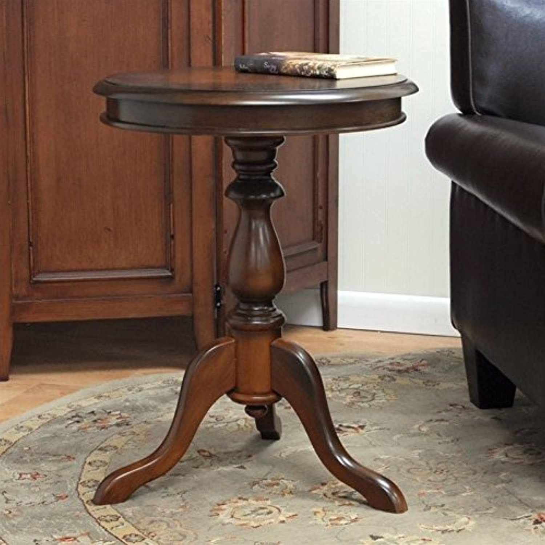 Carolina Classic Leeann Pedestal Accent Table in Chestnut