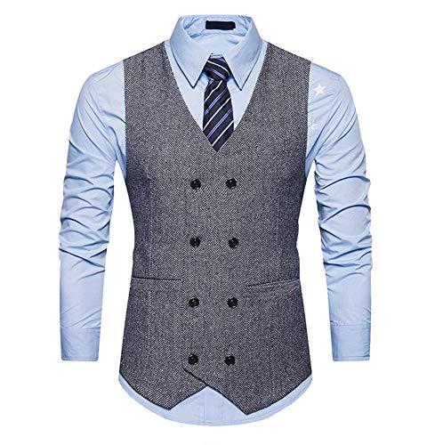 XFXZXZ vest met twee rijen voor heren, casual business mouwloos vest, vintage formele vest voor bruiloft mannen, B