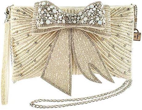Mary Frances Cherish Embellished 3 D Bow Crossbody Bridal Clutch product image