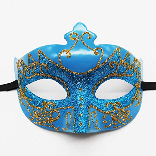 YULEJIA Maskerade Maskers voor Vrouwen, Venetië Halloween koppels Party Blue Exquisita Máscara De Plástico Pintada De Media Cara Creativa Carnaval Cosplay Mardi Gras Masker Prom Artiesten Muurdecoratie
