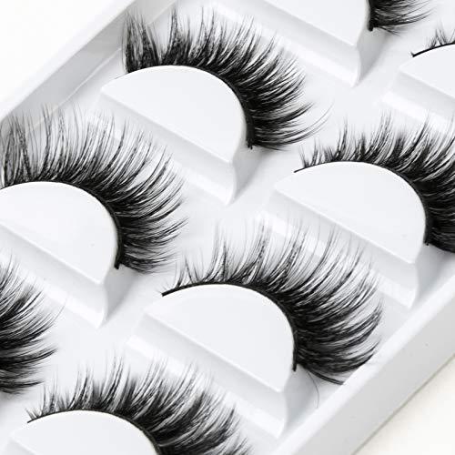 ICYCHEER Premium Falsche Wimpern 5 Paar Natürliche 6D Wimpern Natürlicher Look Für Makeup Wimpern Verlängerung Pure Handgemacht mit Unsichtbares Band Wiederverwendbar (4)