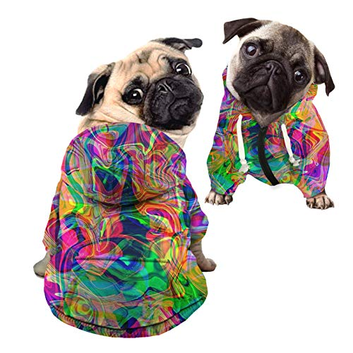 HUGS IDEA Colorido perro mascota gato cachorro lindo trajes ropa, lneas de color abstractas minimalista algodn polister sudadera para perros pequeos gatos cachorro animal - L