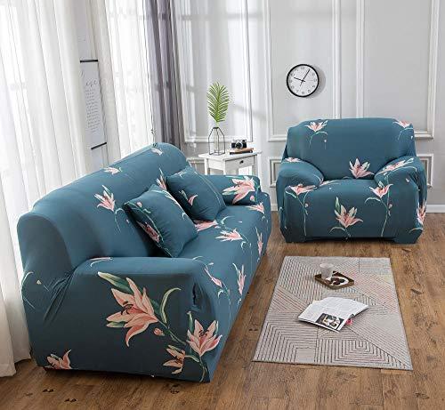 Funda de sofá de 2 Plazas Funda Elástica para Sofá Poliéster Suave Sofá Funda sofá Antideslizante Protector Cubierta de Muebles Elástica Flor Rosa Azul Funda de sofá
