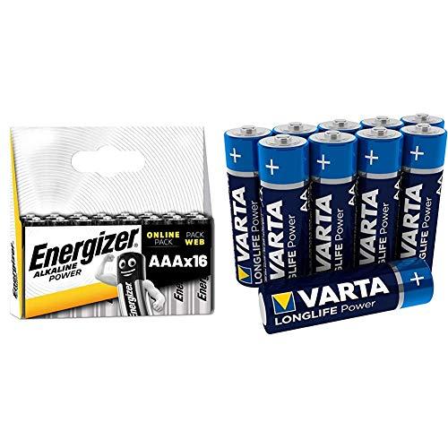 Energizer Batterien AAA, Alkaline Power, 16 Stück & VARTA Longlife Power AA Mignon LR6 Batterie (10er Pack) Alkaline Batterie - ideal für Spielzeug Taschenlampe Controller