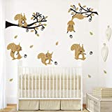 ufengke Jungle Animal Tree Wall Stickers Brown Squirrel Wall Decals for Kids Bedroom Nursery Decoration