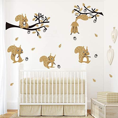 ufengke Wandtattoo Waldtiere Baum Wandsticker Wandaufkleber Braun Eichhörnchen für Kinderzimmer Dekoration