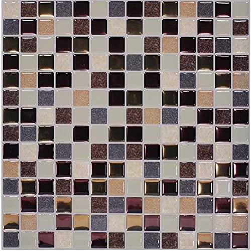 FLLKIHH Adhesivos 3D para Azulejos Pelar Y Pegar Azulejos De Pared Transfers Mosaico Papel Pintado Autoadhesivo Pegatinas De Vinilo para Salpicaduras De Cocina Baño (30 × 30 Cm),A,10PC