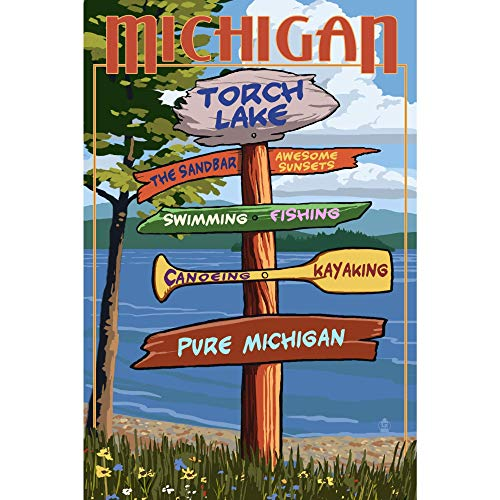 560 WENKLL Torch Lake Michigan Pure Michigan Destinations 8x12inch Pub Shed Bar Man Cave Home Bedroom Office Kitchen Gift Metal Sign
