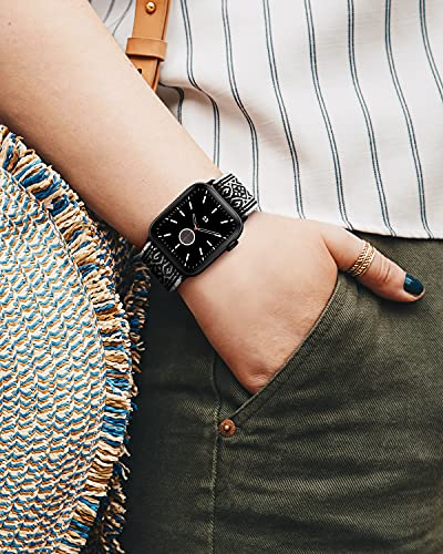 AMANECER Stretchable Nylon Watch Bands Compatible with Apple Watch Series 6/5/4/3/2/1 SE, Adjustable Braided Pattern Sport Loop Bands for iWatch Women Men