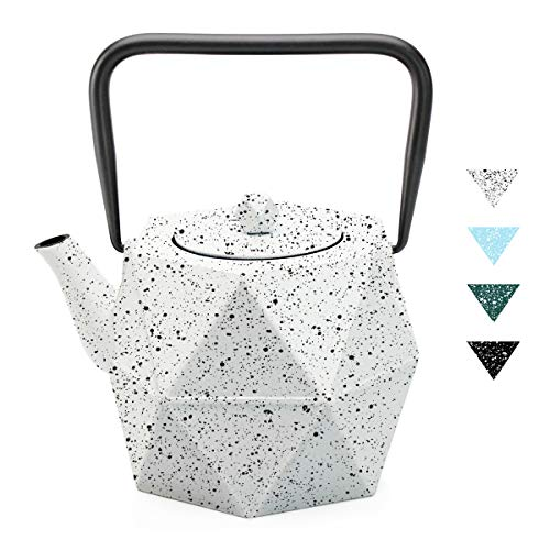 Tea Kettle, Toptier Japanese Cast Iron Teapot with Stainless Steel Infuser, Cast Iron Tea Kettle Stovetop Safe, Diamond Design Teapot with Snowflake for 30 Ounce (900 ml), White