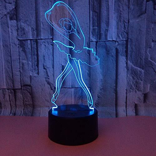 Elemento de moda decoración del hogar ballet luz 3d toque colorido luz nocturna novela visual lámpara LED luz nocturna regalo de Halloween luz nocturna colorida