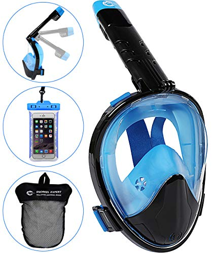 HELLOYEE Snorkel Mask 180° Panoramic View Breathe Free For Adults And Kids, Snorkeling Mask Full Face Anti-Fog Anti-Leak Design With Detachable Camera Mount (Foldable Black-Blue, L/XL)
